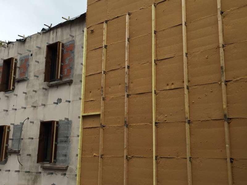 ITE des murs en laine de bois