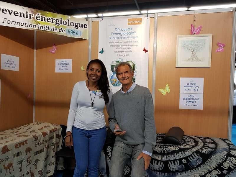 Jean Michel Meric (Fondateur de l'énergiologie) et moi au Salon Zen