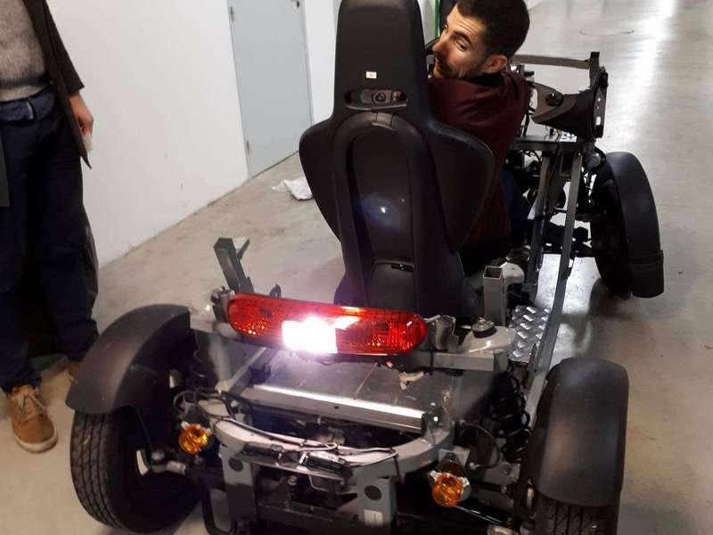 Loic testing a Twizzy prototype at Renault lab