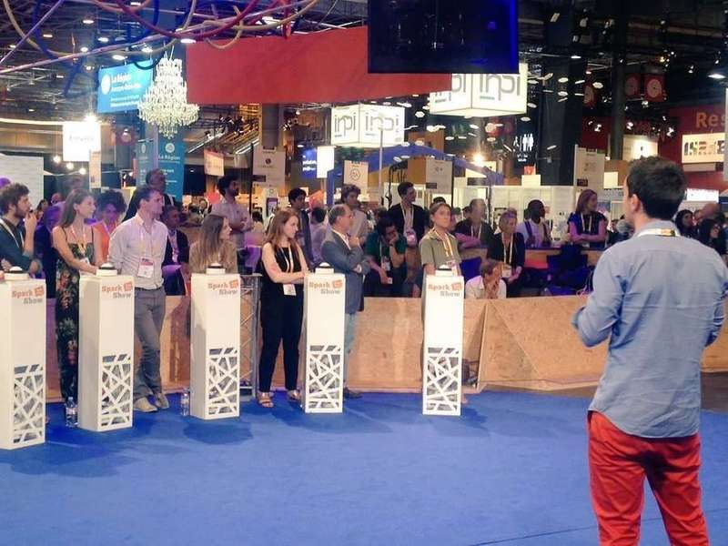 Three intense days at VivaTechnology! Nicolas pitches in front of a bench of journalists