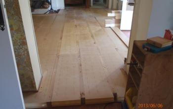 plancher chêne isolation TMS 80 mm entre lambourdes menuiserie MIGUET EURE 27580 CHAISE DIEU DU THEIL