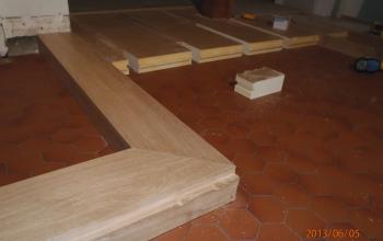 plancher chêne décaissé avec isolant en sous face menuiserie MIGUET EURE 27580 CHAISE DIEU DU THEIL