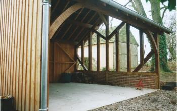 garage structure colombage,couverture ardoise menuiserie MIGUET EURE 27580 CHAISE DIEU DU THEIL