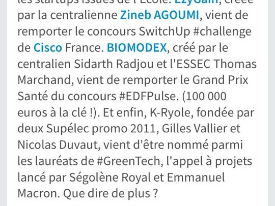 K-Ryole lauréate GreenTech verte et citée par Hervé Biausser, le directeur de CentraleSupélec ! Quelle fin de mois !