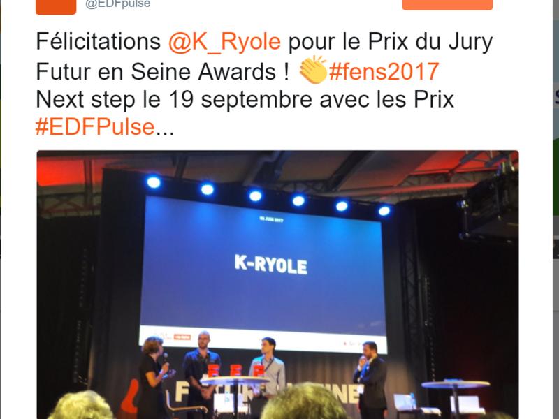 K-Ryole est nommée Prix du Jury de Futur en Seine, décerné par un Jury prestigieux et remis par Valérie Pécresse